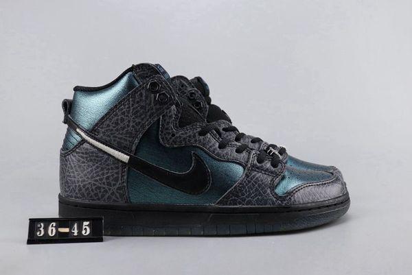 Erkekler ve kadınlar rahat ayakkabı sığır derisi deri yüzeyi dantel tarzı EUR36-45 için benzersiz koyu yeşil yüksek top spor ayakkabılar