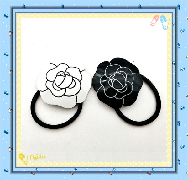 Korean acrylic CC headdress rose Camellia hair rope headband belt hair accessories fashion jewelry headdress