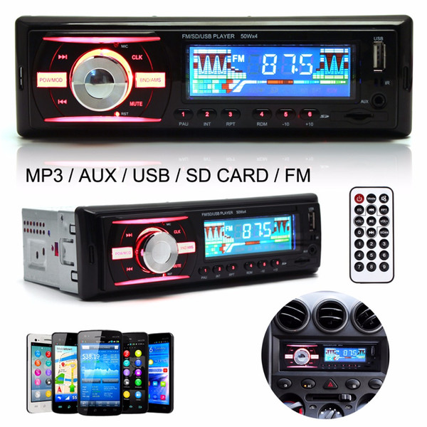 Freeshipping Black Car Auto Audio Stereo In-Dash 1 DIN 12V Car Radio MP3 Player Support FM UPS WMA INP AUX and Clock