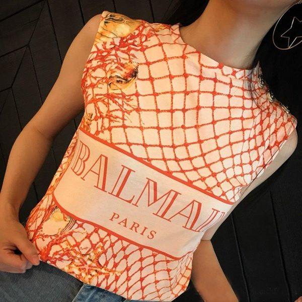 BAlMAIN 2019 Venta al por mayor Diseñador de ropa estilo británico mujeres camiseta PINK transpirable TOP Tees Paris Casual Workwear