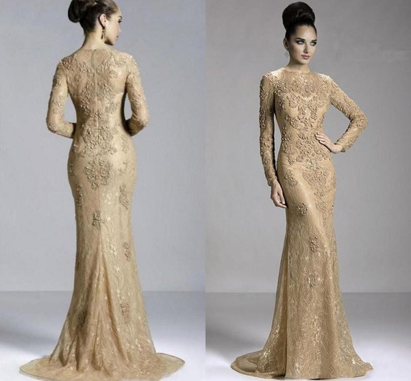 2019 Cheap Gold Champagne Mermaid Evening Dresses Full Lace Appliques Beaded Jewel Neck Long Sleeves Formal Evening Gowns Prom Pageant Dress