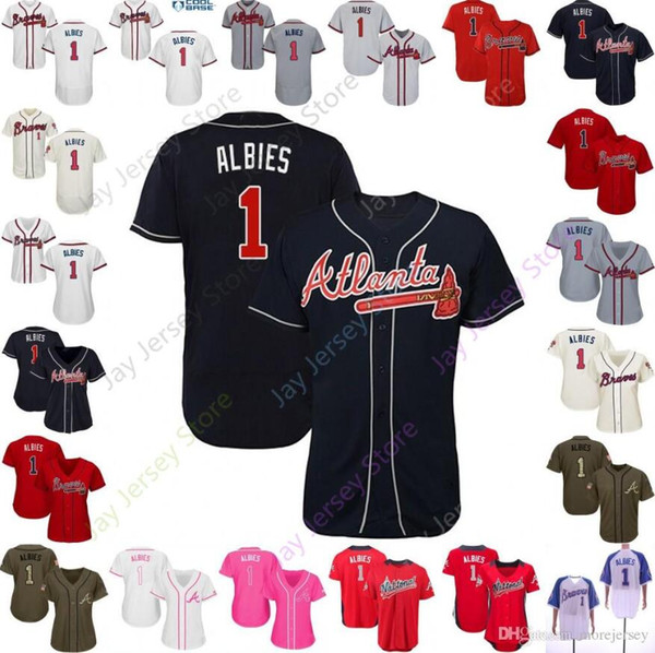 quality design d85d1 85ef0 2019 Ozzie Albies Jersey 1 Braves Men Women Youth Atlanta Baseball Jerseys  2019 Home Away Pullover Cool Base Flexbase Red Blue Pullover From ...