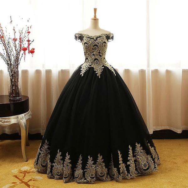 Vestido de fiesta negro y dorado, vestido de fiesta por la noche, fuera del hombro, encaje con mangas Corset, espalda, largo, barato, formal, alfombra roja, vestido de celebridad
