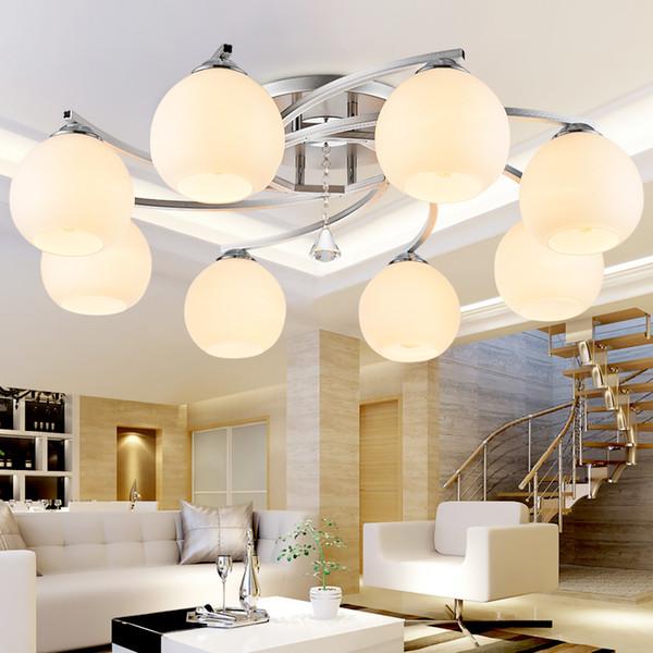 современный стеклянный шар круглый Хрустальный потолочный светильник для освещения гостиной с дистанционным управлением luminaria промышленный потолочный светильник домашнего декора