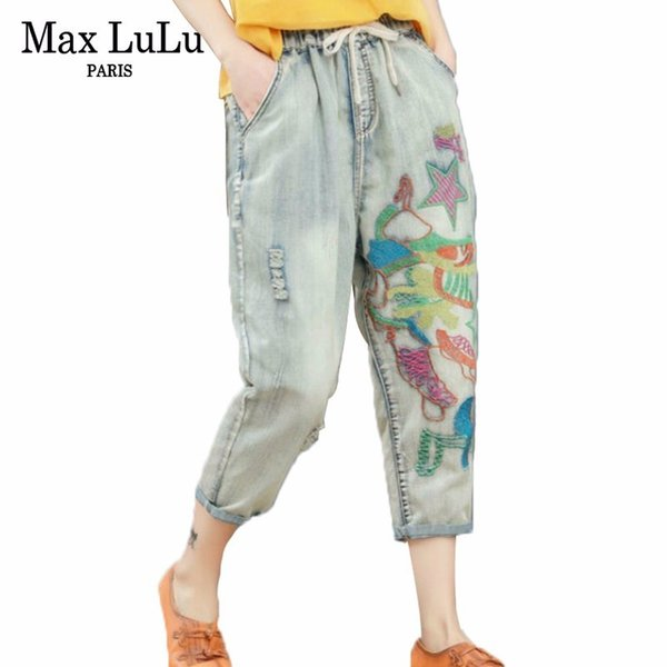 Max New 2019 Luxury Fashion Designer Ladies Ricamo Pantaloni Donna Estate Strappato Jeans elastici Pantaloni casual Harem Pants