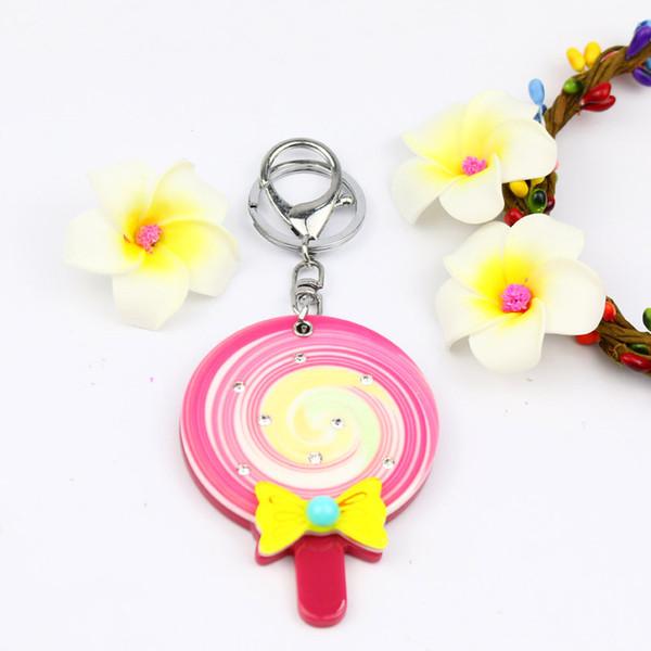 Lollipop Iconic miroir porte-clés avec arc keycharm Pierre accessoires de mode acrylique détenteurs de clés acrylique design mignon porte-clés styles de vente chaude bijoutier