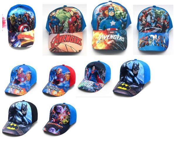 10 pcs Superhero Liga Vingadores mix boy girl Moda Sun Hat Cap pano Casual Cosplay Boné de Beisebol presentes W-4