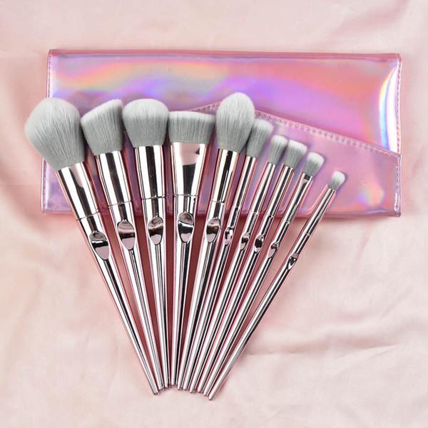 top popular Premium Professional Makeup Brush Set 10 PCS Cosmetics Makeup Brushes Foundation Blending Blush Powder Blush Concealers Eye Shadows Brushes 2021