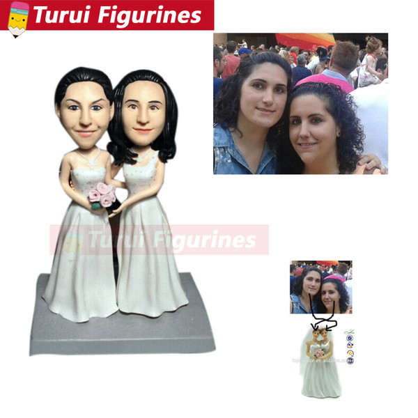 wedding cake topper real face figurine Resin clay home decoration dolls Anime action figure Toy polymer clay doll bride groom