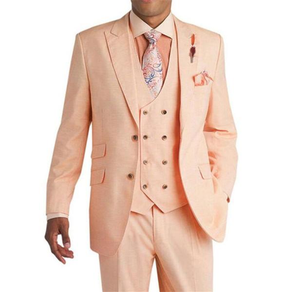 2019 Ternos De Casamento Rosa para Homens Ternos Do Noivo Smoking Smoking Jacket Slim Fit 3 Peça Tux Custom Made Prom Ternos Melhor Homem Blazer (Jacket + Pants + Vest)