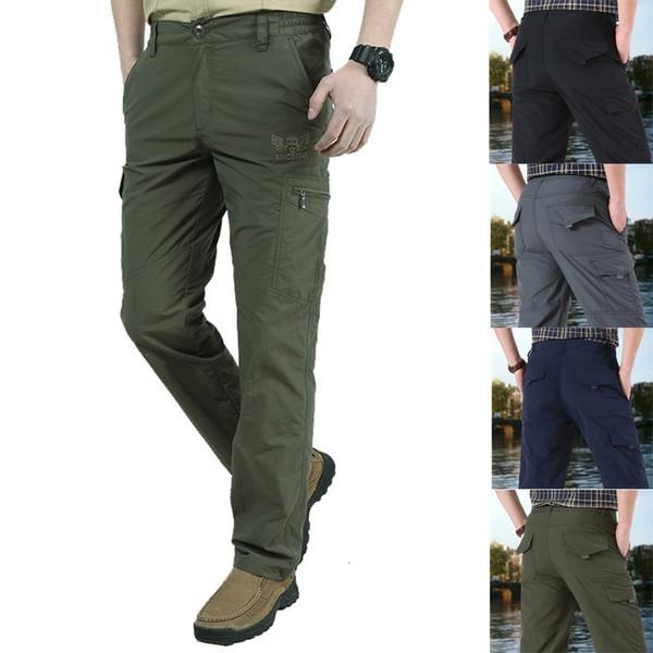 Брюки мужские летние новый стиль на открытом воздухе быстросохнущие дышащие спортивные повседневные брюки карго тактические карманы армейские брюки