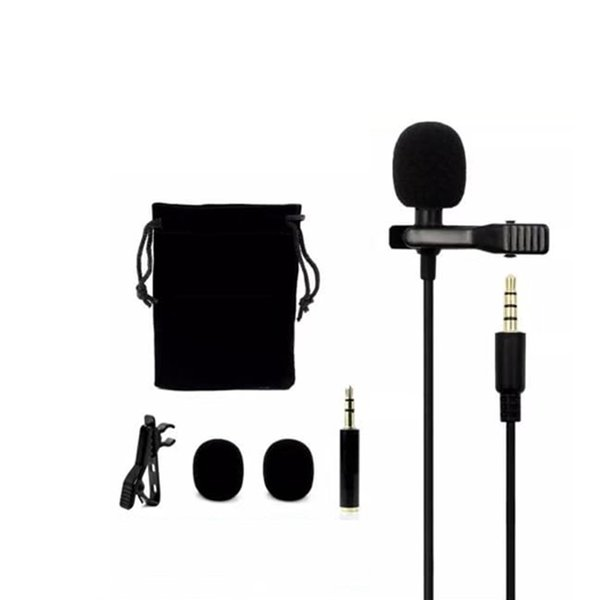Metal Microphone 3.5mm Jack Lavalier Tie Clip Microphone Mini Audio Mic for Computer Laptop Phone DHL Free Shipping