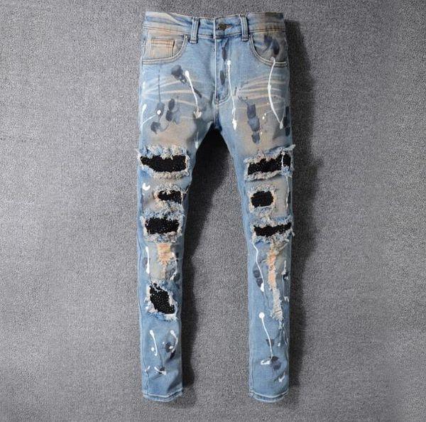 2019 nuovo High Street tendenza buco locomotiva jeans luce blu vecchio slim punk pantaloni piedi degli uomini AMIRI