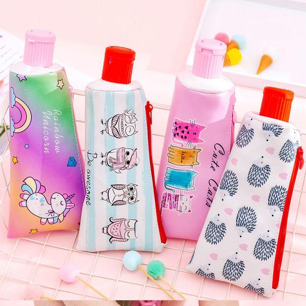 Creative toothpaste leather Pencil Case Cute Unicorn Owl cat large Pen Bag Kawaii Office School Supplies Korean Stationery