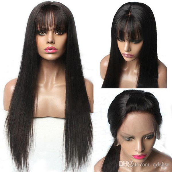 Color Hair Lace Front Wigs With Bangs Virign Malaysian Hair Long Black Straight Pre Plucked Glueless Lacefront Wigs Human For Black Women