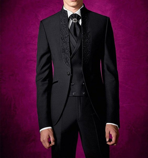 2019 Latest Coat Pant Design Black Wedding Suits Handsome Embroidery Mens Suits Groom Tuxedos Custom Formal Suits (Jacket+Pants+Vest+Tie) W1