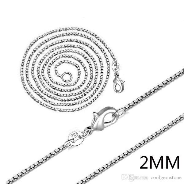 Bestseller 60 Stück Hohe Qualität 925 Sterling Silber Überzogene 2 MM Flash Box Kette Silber Kette Halskette Charme Unisex Silber Kette Halskette