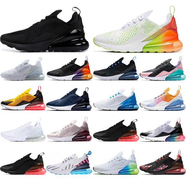 Nike air max 270 Com meias NOVO respirável Das Mulheres Dos Homens Tênis de Corrida Do Arco Íris Volt laranja estrelas SER VERDADEIRO Preto Gradiente Azul Marinho mens formadore
