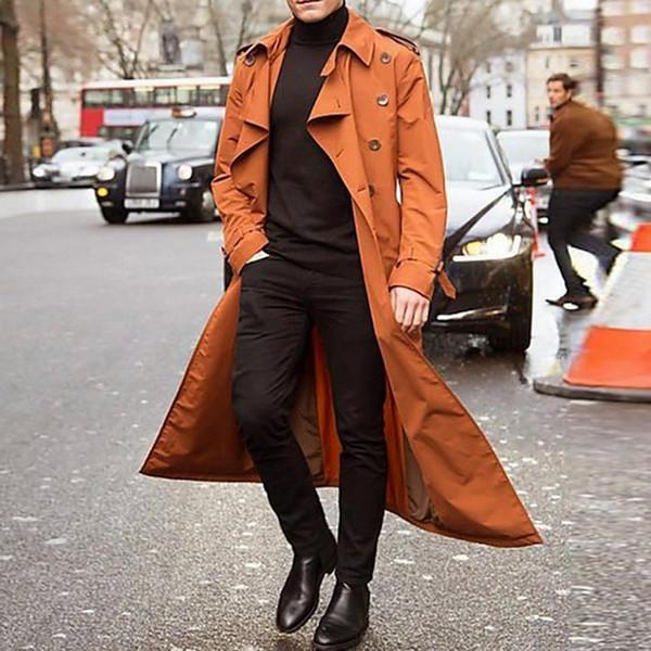 Bouton coupe-vent Hommes sauvages Casual conception Pardessus Trench Veste solide Couleur longue tranchée simple boutonnage Manteau Veste 2019