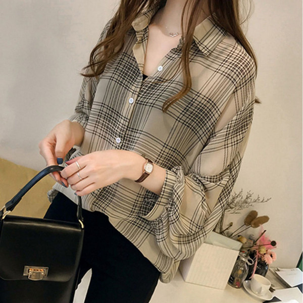 sifanfashionstore / Plus size blusa camisa moda feminina tops e blusas 2019 manga longa camisa feminina listrado xadrez OL mulheres blusas