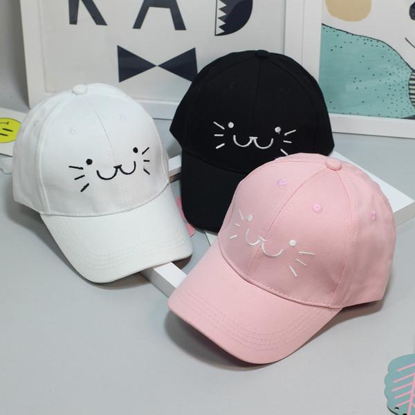 Moda Ayarlanabilir Nakış Snapback Beyzbol Şapkası Sevimli Karikatür Kedi Yüz Hip Hop Düz Şapka Rahat Kap Erkek Kız Için