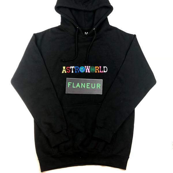 Moda Outono Casual camisola Men AstroWorld Hip Hop Brasão manga comprida Carta Bordado Hoodies Preto Moletons
