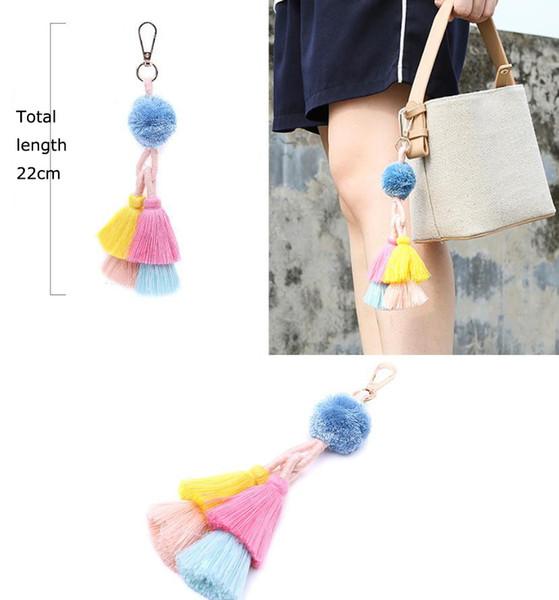 Handgemachte pompon quasten schlüsselanhänger tasche hängen schlüsselanhänger frauen mode handtasche auto anhänger schmuck geschenk