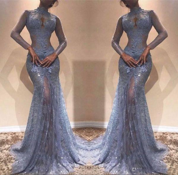 Dust Bluw Illusion Durchsichtig Spitzen Abendkleider 2019 Meerjungfrau Stehkragen Sheer Long Sleeves Appliques Lange Pageant Party Prom Dress