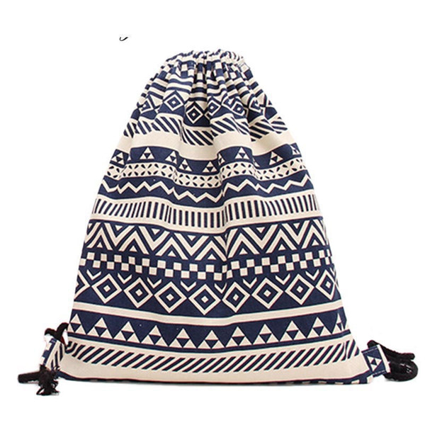 good quality National Women Drawstring Bags Canvas Sack Bag Pack Ethnic Striped Lady Backpack College Students Rucksack Girls Mochila