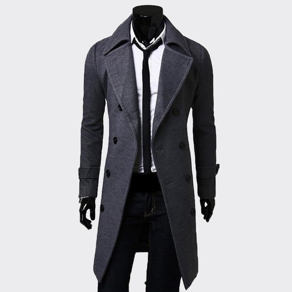 XingDeng Fashion Men Long schwarz Zweireiher Winddichte Jacke Herren Trenchcoat Slim Trenchcoat Plus Size Top Blazer Kleidung