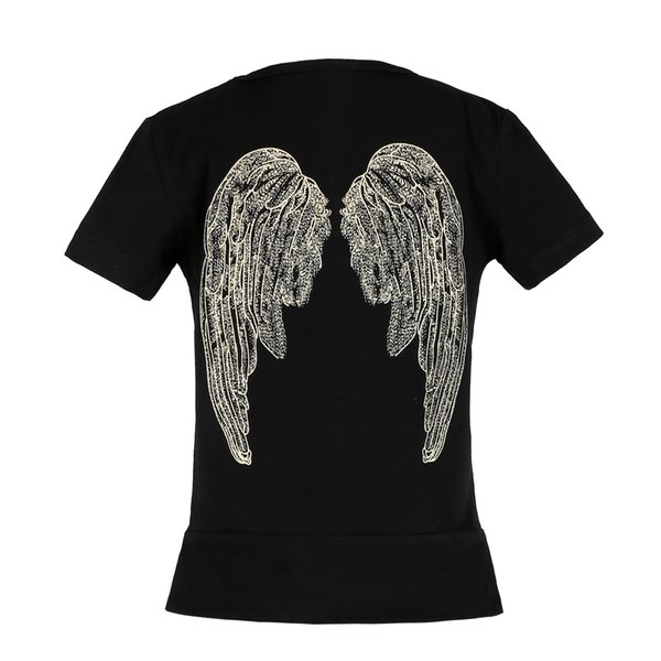 Latest Instagram hot style children's short sleeve T-shirt top top imitation embroidery angel wings coat pure cotton black children's wear