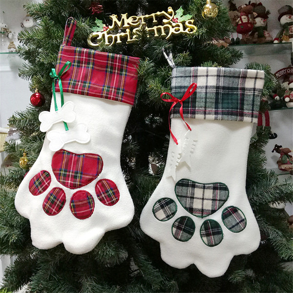 "18"" pet christmas stocking plaid gift sack for cat fireplace xmas tree hanging ornaments pendant dog paw stocking santa sack jk1910"
