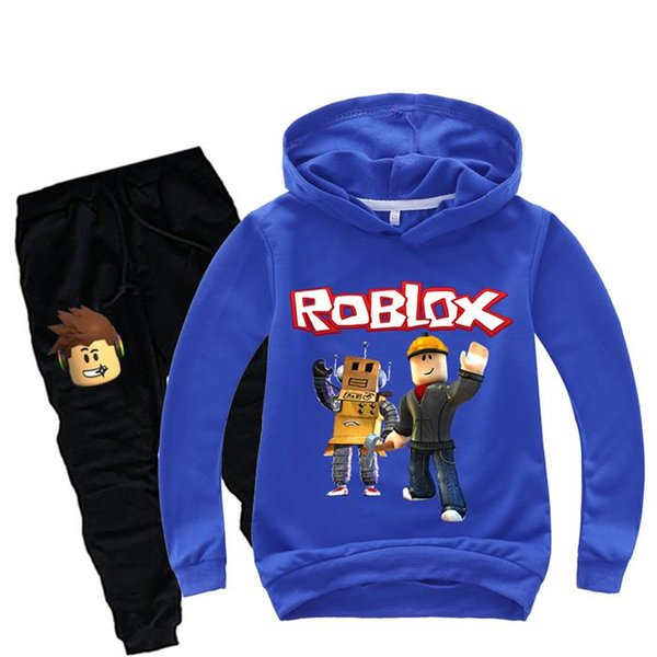 Boys Tracksuits Set Roblox Game Print Hoodie Kids T Shirt Spring Sweatshirt for Children Tops Girls Sports Clothes 2pcs
