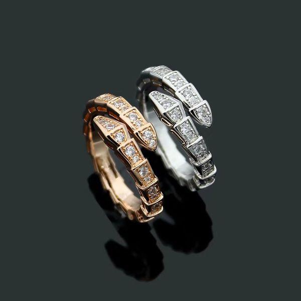 New Arrival Fashion Lady 316L Titanium Steel Full White Diamond Wedding Engagement Snakelike Ring 18K Gold Plated Open Rings Size6 7 8