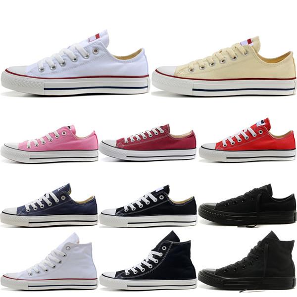 Converse canvas shoes Ucuz Orijinal erkek kadın tuval koşucu sneakers erkek tasarımcı thiple siyah beyaz kırmızı mavi moda paten eğitmen spor rahat ayakkabılar 36-44