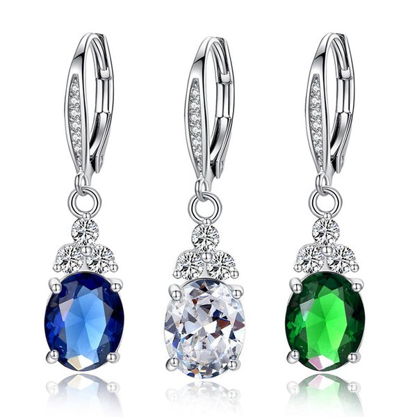 Exquisite Women 3Colors Gemstone Cz Earring White Gold Filled Unique Drop Earrings for Wedding Anniversary Jewelry Gift Size 5-10 E026