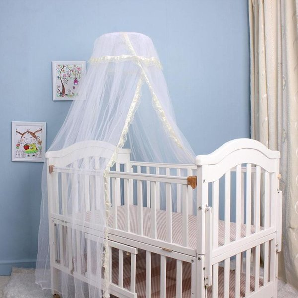 1 Pcs Portable Infant Baby Crib Netting Bed Tents Elegant Baby Infant Round Dome Lace Floor Type Crib Netting For Bed props