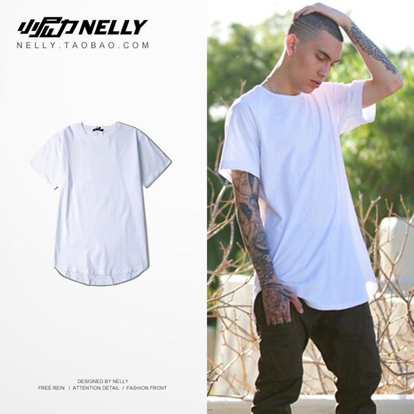 Yüksek Sokak saf renk alt ark alt sarkaç artı uzun kısa kollu TEE erkek ve kadın T-Shirt orta kollu koyu T-shirt