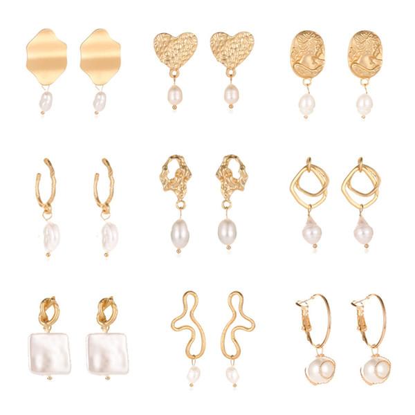 2019 orecchini coreano geometrici perle d'acqua dolce orecchini di goccia per le donne Hollow dichiarazione nappa penzolare gioielli di moda