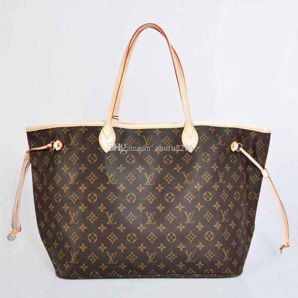 Classique Haute Qualité Neverfull femmes en cuir Sac à main Sacs à bandoulière shopping sacs fourre-tout bourse portefeuille livraison gratuite V02