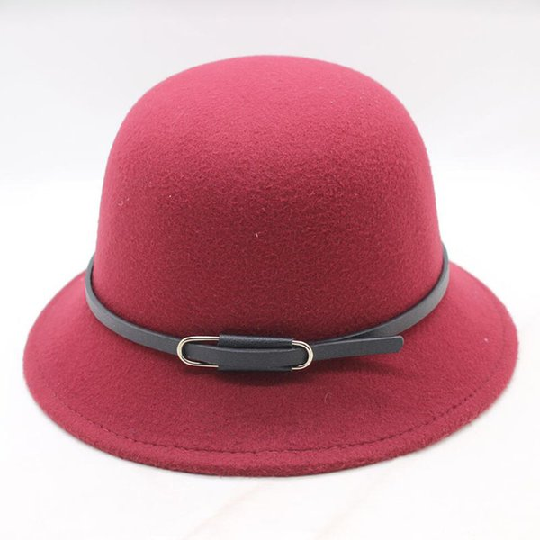 2018 New Fashion Elegant vintage Autumn Winter Belt red fedora hats for women Ladies female jazz cowboy Cap top Hats D19011102
