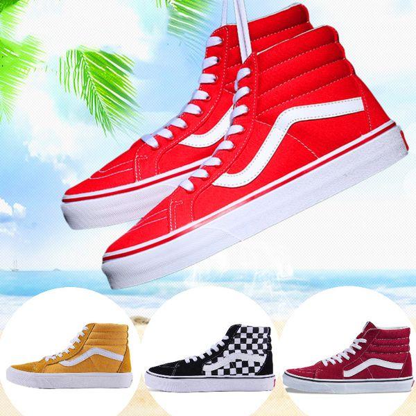 top popular 2020 van fashion canvas sneakers old skool sk8 hi slip on men women skateboard shoes triple black white CHECKERBOARD fashion casual shoe 2020