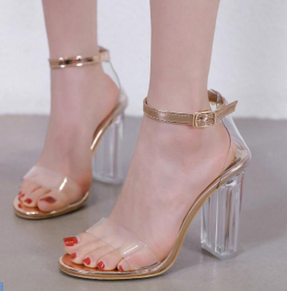 Summer 2019 New Crystal Coarse-heeled Transparent Rubber High-heeled Open-toed Women's Sandals Night club dance party dress Shoes 3 colour
