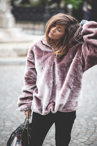 2018 Women Purple Hoodies Sweatshirt Velvet Winter Warm Coral Casual Long Sleeve Zip Up Loose Pullover Hooded Sweatshirts