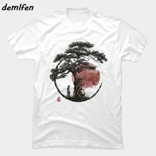 Yaz anime Sunset in Huangshan T-Shirt harajuku streetwear tees serin Erkekler Kısa Kollu O-Boyun pamuk Gömlek tops