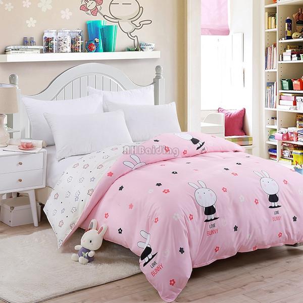 Cute Pink White Rabbit Duvet Cover 1 Pc Aloe Cotton Bedding Quilt Comforter Cover 150*200cm 180*220cm 200*230 220*240cm