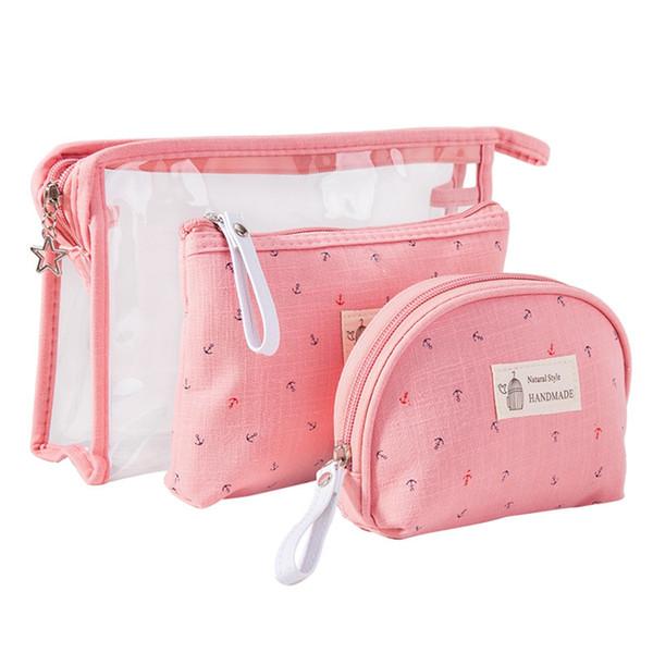 Anchor Pattern 3pcs/set Cosmetic Bags Waterproof Make Up Bag Women PVC Nylon Pouch Travel Toiletry Organizer Storage Bag Neceser