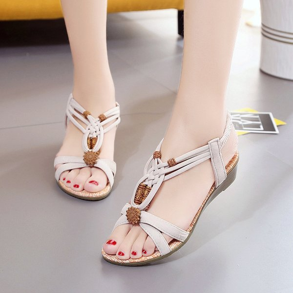 Women Sandals Bohemia Style Wedges Shoes For Women Summer Sandals Elastic Band Beach Shoes Female Wedge Heel Gladiator Sandals