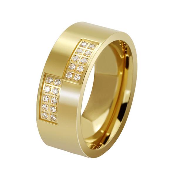 Titanium Steel Jewelry Cubic Zirconia Men Rings Fashion Finger Ring Gold 8mm Size 7-13 KKA3984