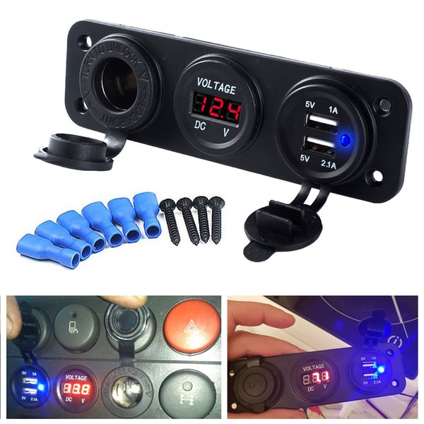 3.1A/4.2A Car Charger Motorcycle Plug Dual USB Adaptor+12V/24V Cigarette Lighter Socket Blue LED +Digital Voltmeter